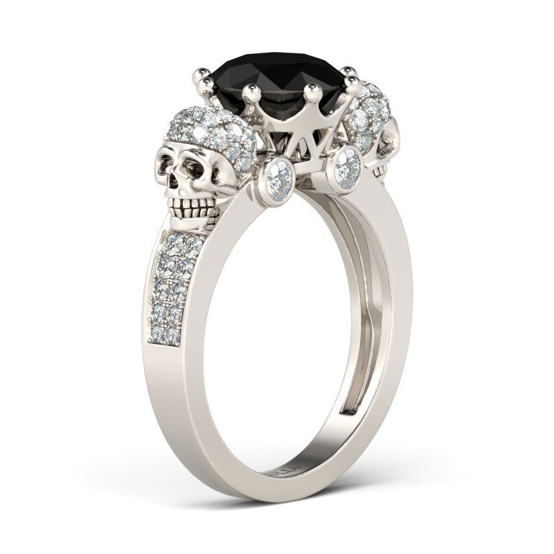 two skull black diamond wedding ring - Skull Wedding Rings
