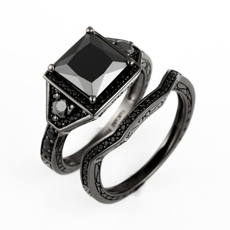 black engagement wedding ring set - Black Wedding Rings Sets