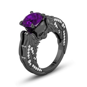 purple gemstone evil wing skull engagement ring - Purple Wedding Rings