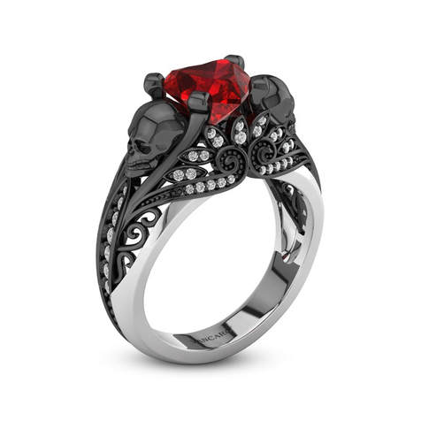 Heart Diamond And Ruby Ring