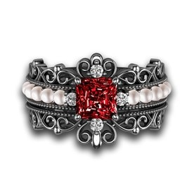 gothic wedding ring set