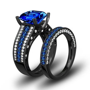 gothic wedding rings - Black And Blue Wedding Rings